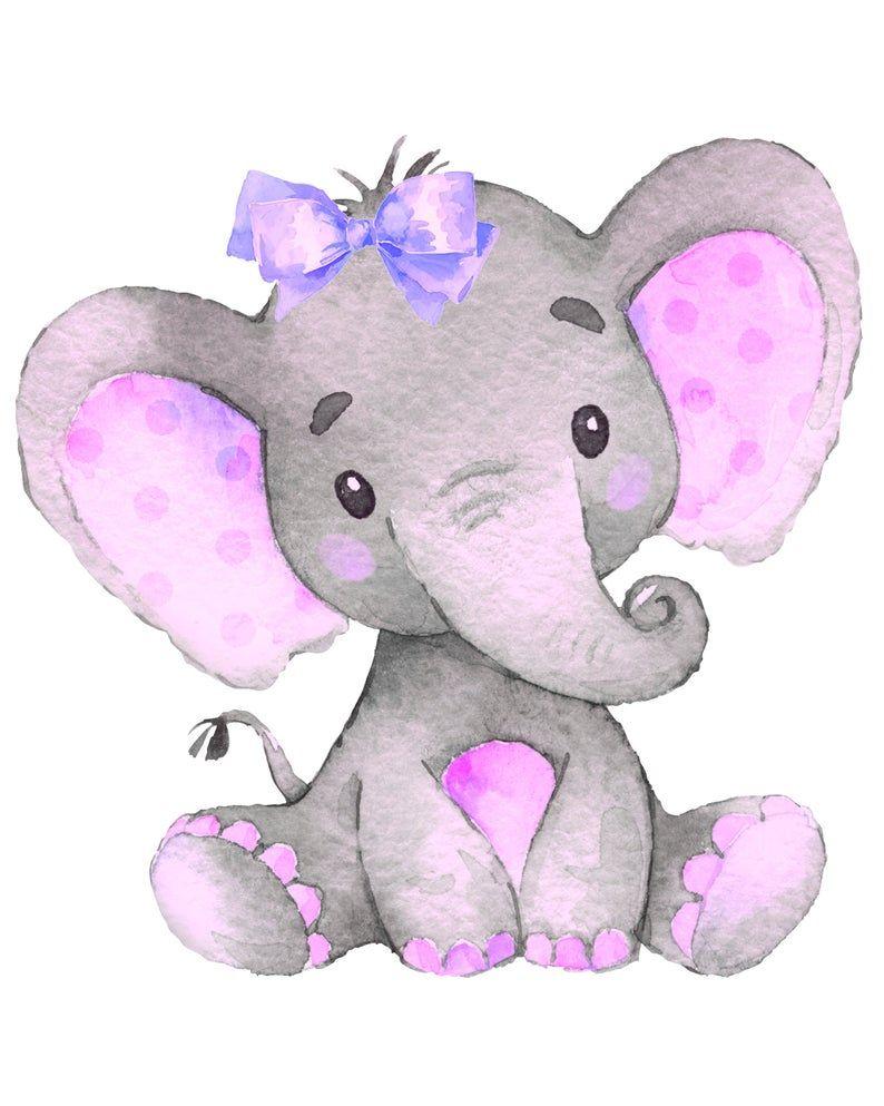 Baby Girl Elephant Nursery Print Purple Jpeg 8 By 10 Digital File Elefante Para Ninos Baby Showers De Animales Dibujo De Elefante