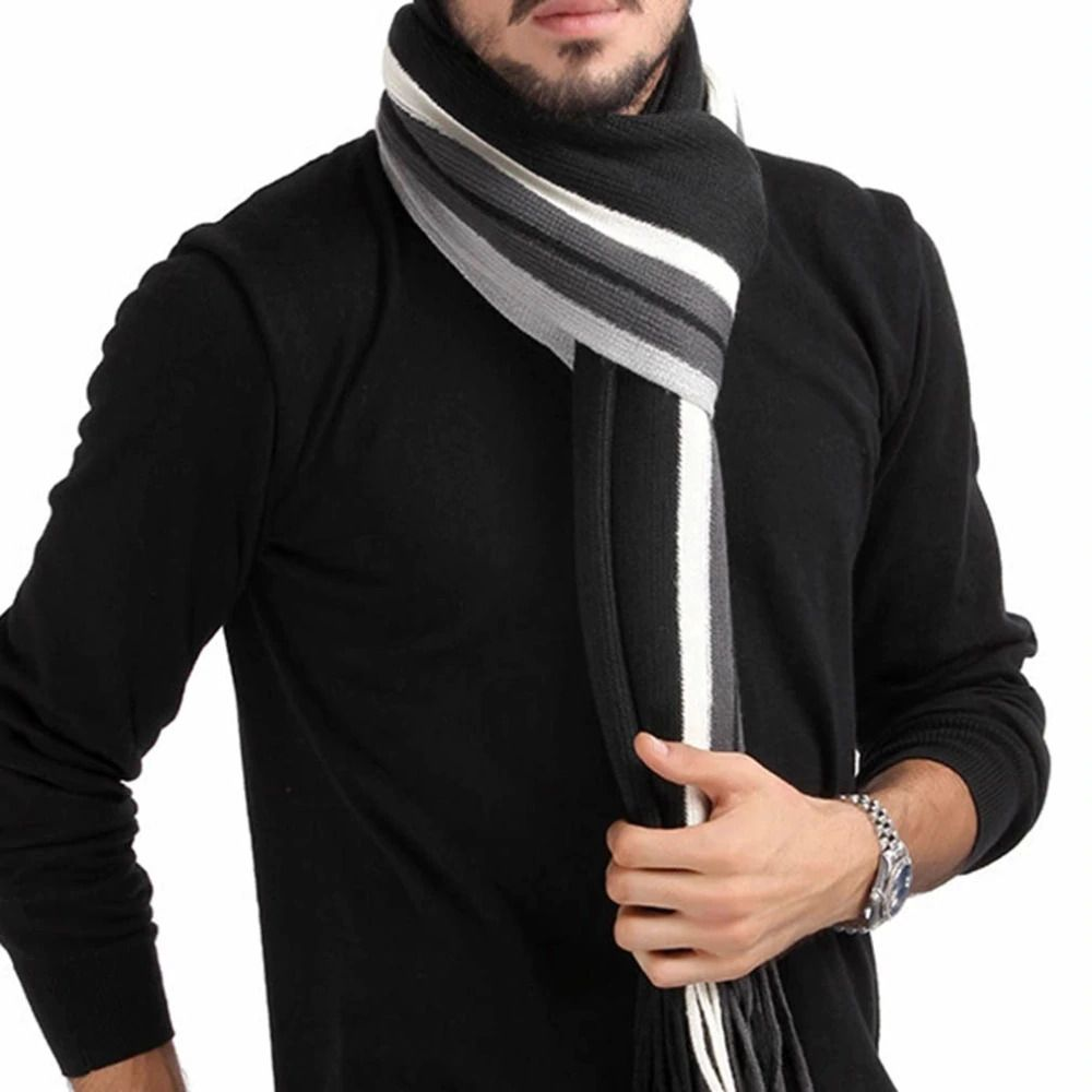 US Men Classic Cashmere Shawl Winter Warm Fringe Stripe Tassel Long Soft Scarf
