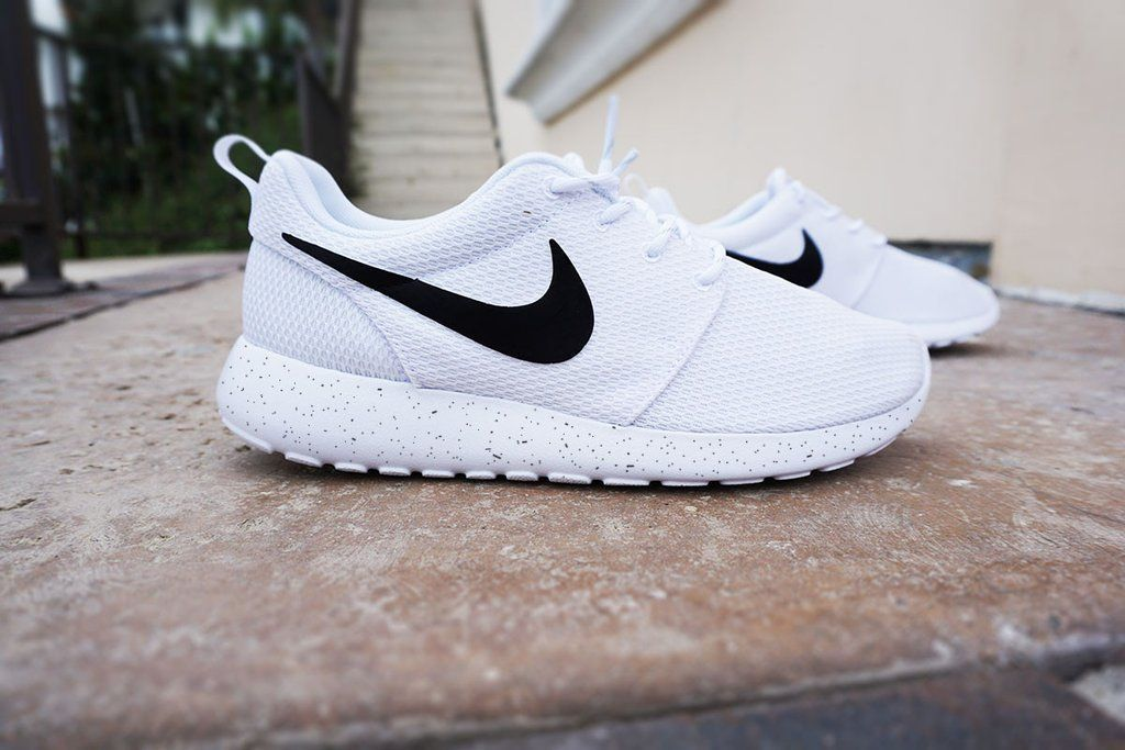 cheap for discount 8dd93 d2d83 Womens Custom Nike Roshe Run sneakers, Minimalistic black and white design,  black nike swoosh with black speckles, all white shoe