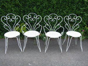 Vintage French Wrought Iron Garden Chairs