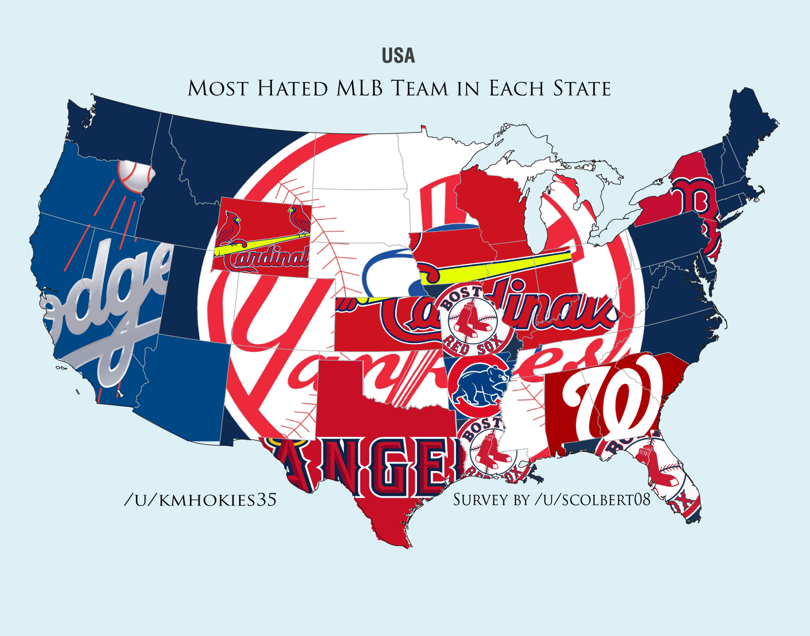 BeatLA Heres Maps Of The Most Hated Teams In Baseball By State - Map of us baseball teams