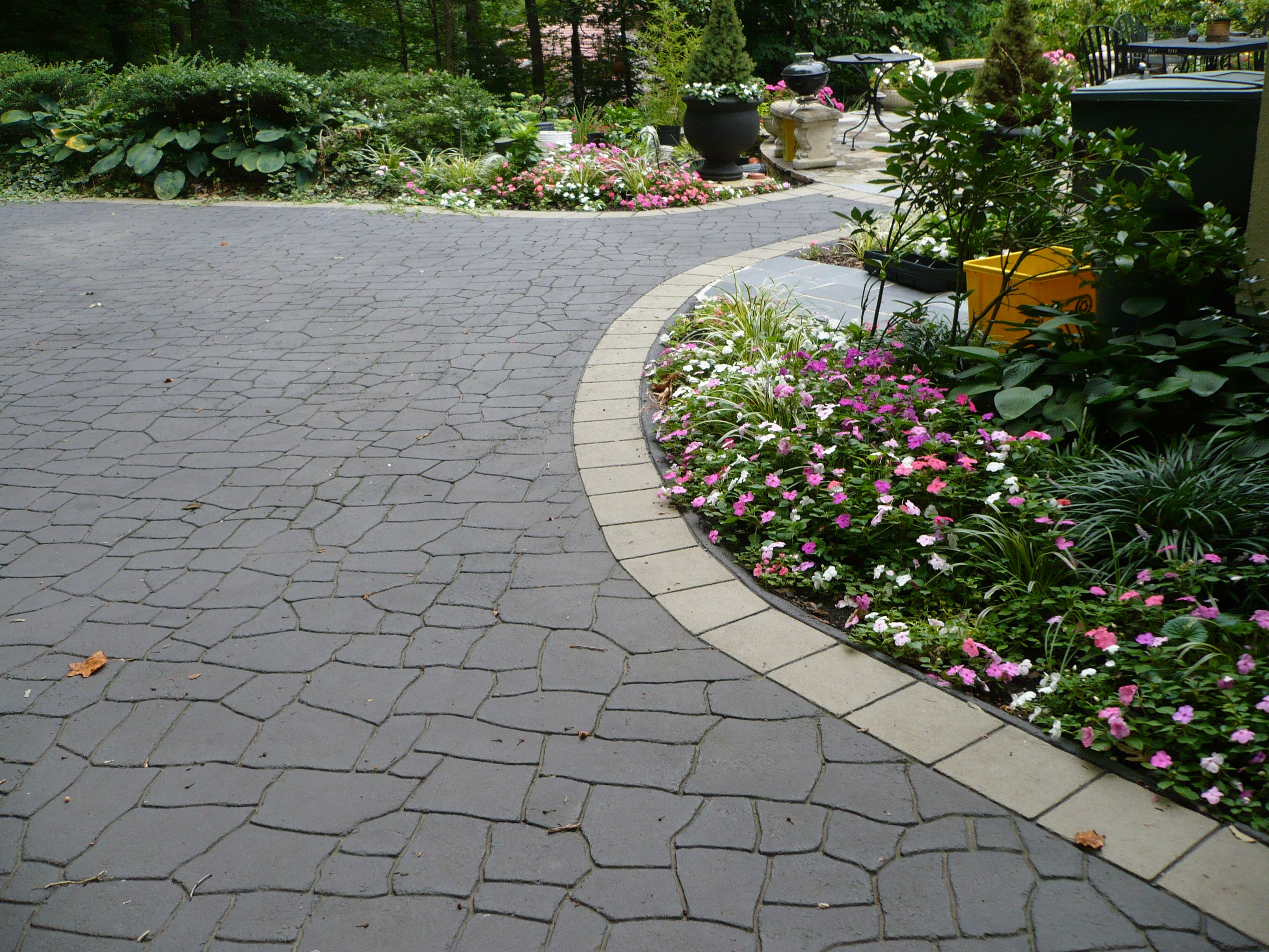 Contemporary with front steps gray brick driveway gray brick driveway - Stamped Asphalt Driveway Sample