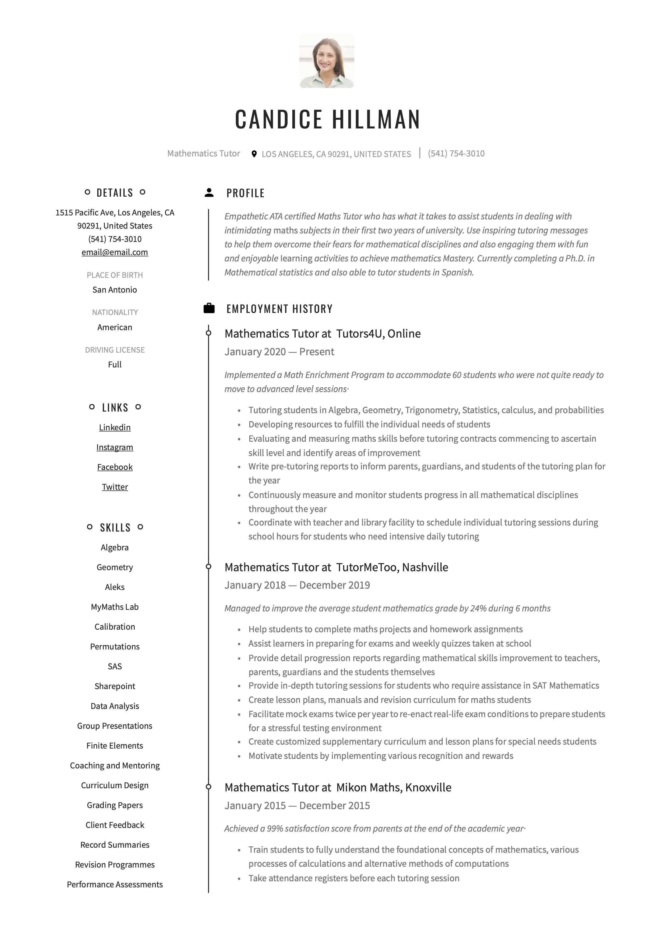Mathematics Tutor Resume Sample Manager Resume Resume Resume Writing