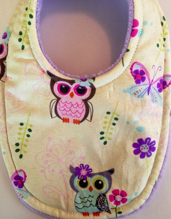 Baby Bib Pretty Owley Absorbent Triple Layer Bib Mom Approved on Etsy, $7.99