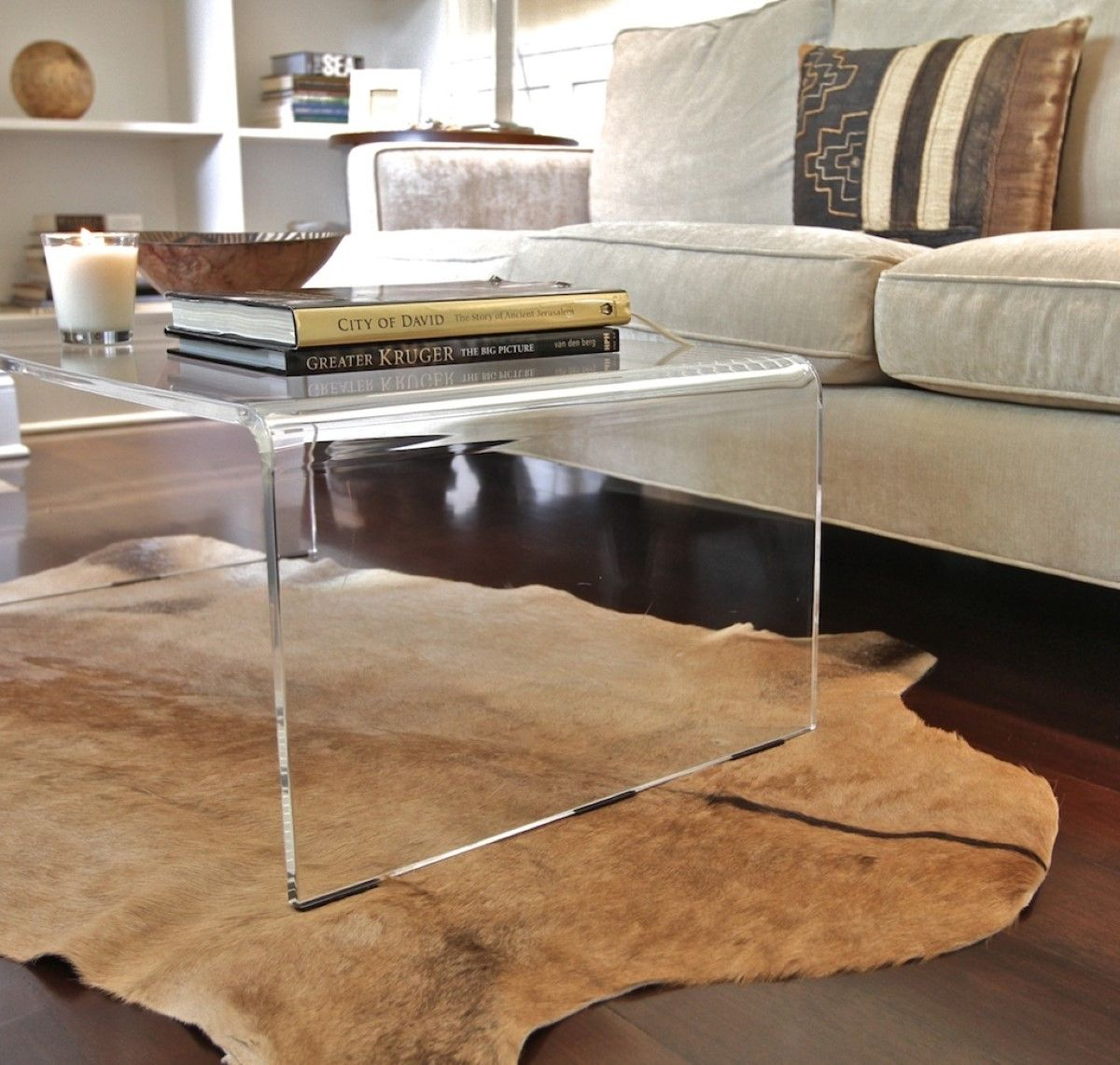 Modern Transparent Glass Coffee Table Over Animal Skin Fur Rug On Wooden Floor Ikea Coffee Table Flexib Coffee Table Lucite Coffee Tables Acrylic Coffee Table