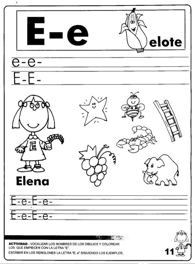 Fantástico Letra E Para Colorear Páginas Preescolar Bandera ...