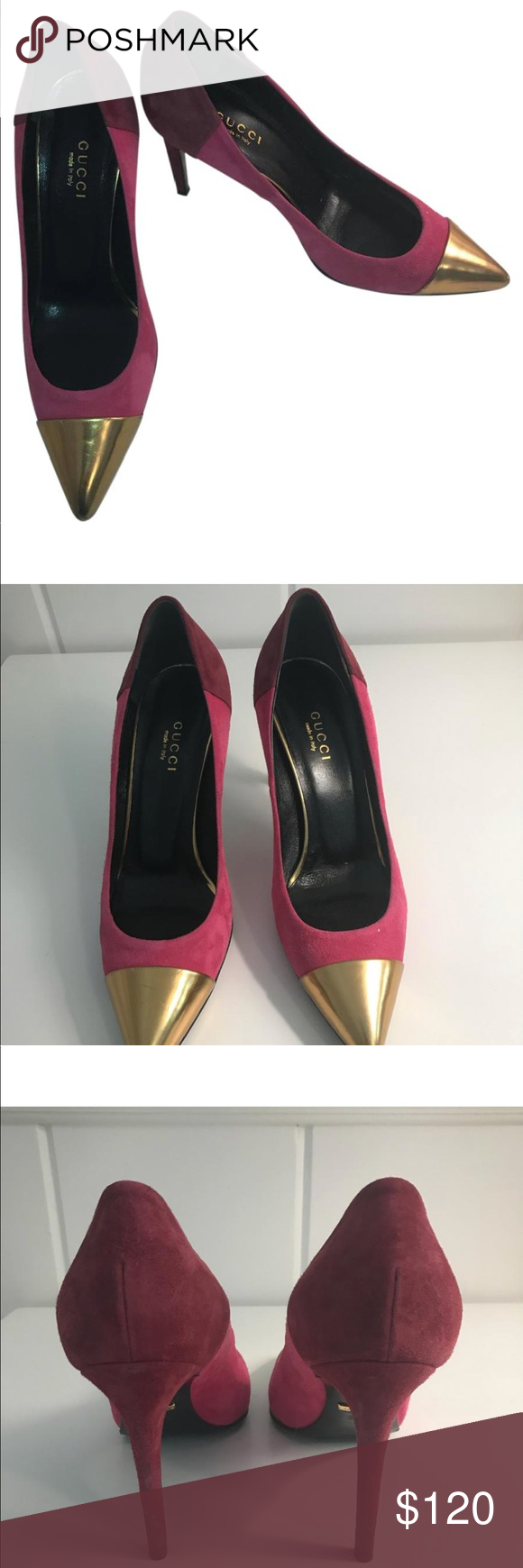 2a1cc9350f9b Gucci fuchsia plum and gold suede pumps Authentic Gucci pumps .. lightly  worn. Outer sole and back of the heels have small signs of wear Gucci Shoes  Heels