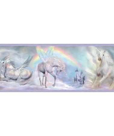 This Blue Unicorn Dreams Border Wallpaper is perfect!