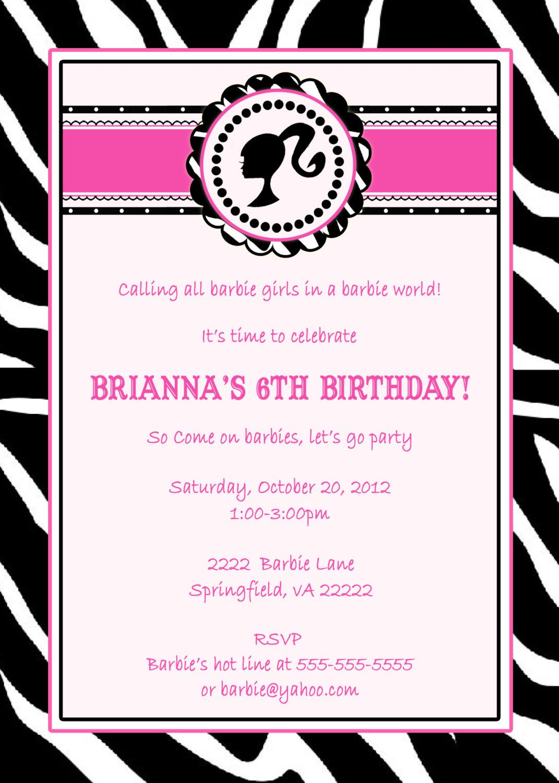 Barbie Invitation Wording Barbie Invitation Wording Pic 24 Bday