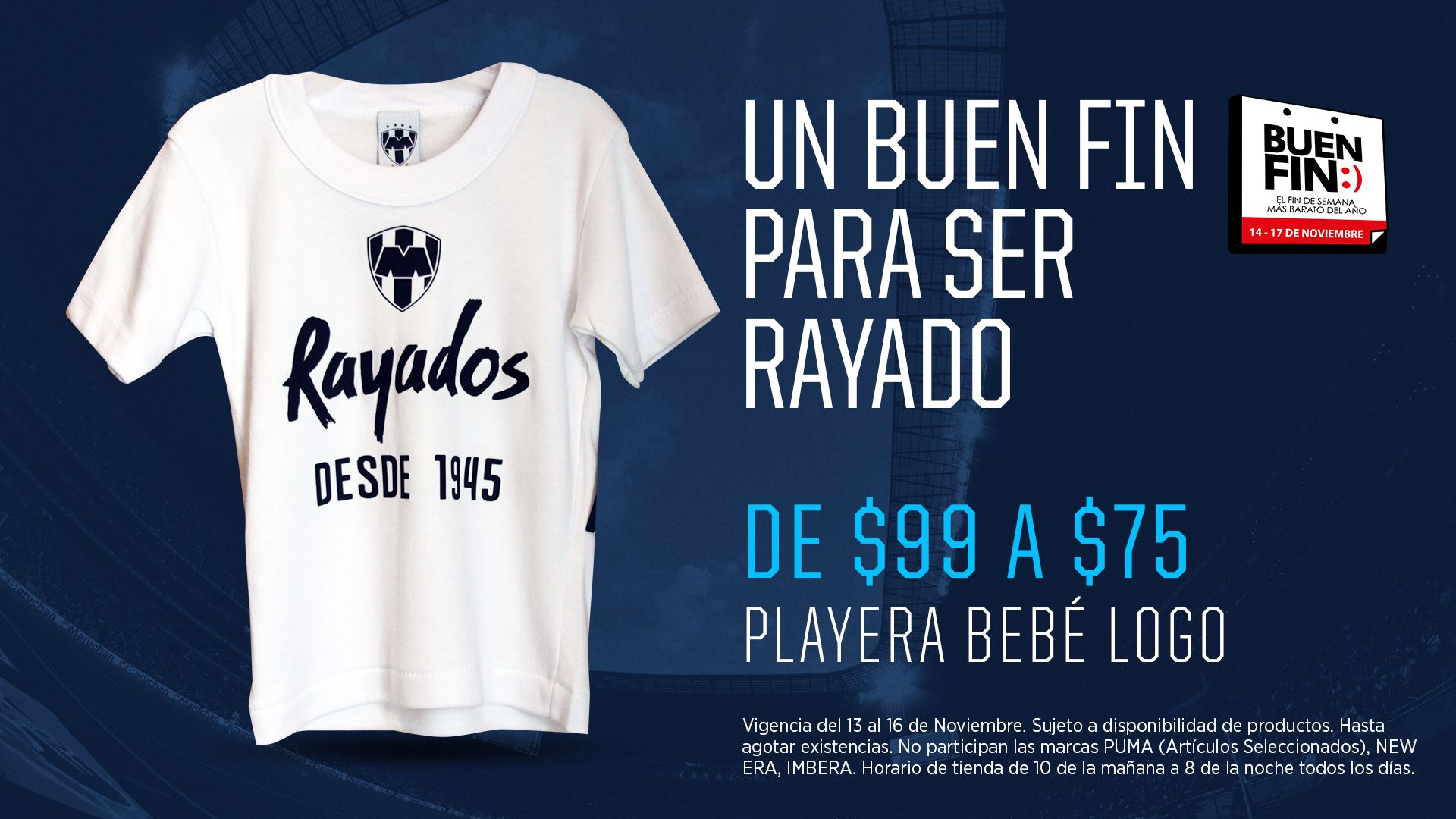 Playera bebé con logo de Rayados. Playeras, Buen fin