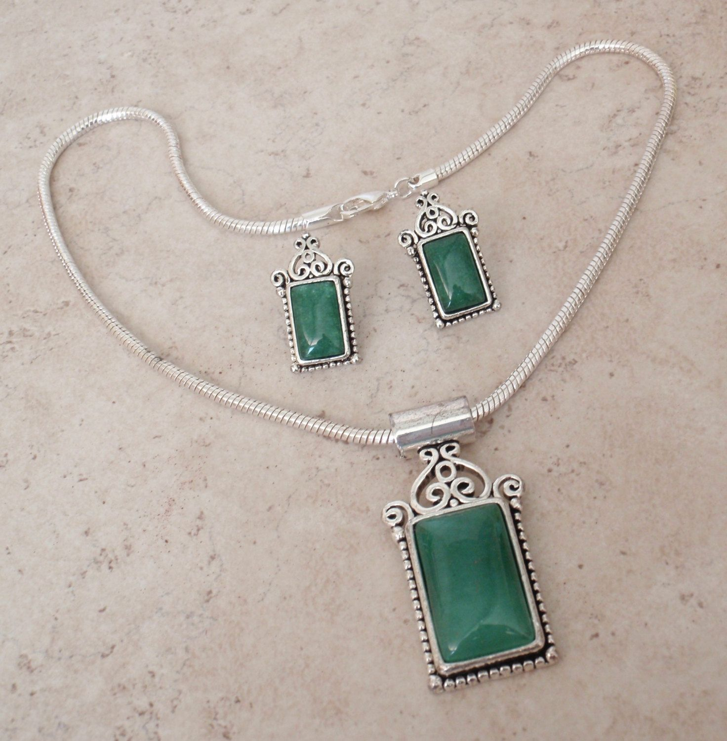 Green Agate Silver Plated Pendant