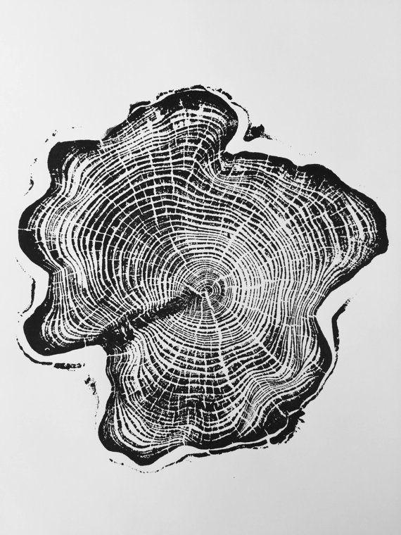 Ciprés de Alaska, impresión del arte del anillo del árbol, grabado en madera, impresión del arte del anillo del árbol, regalo del amante de Alaska, impresión del grabar en madera, grabado en madera, regalo del arte de Alaska