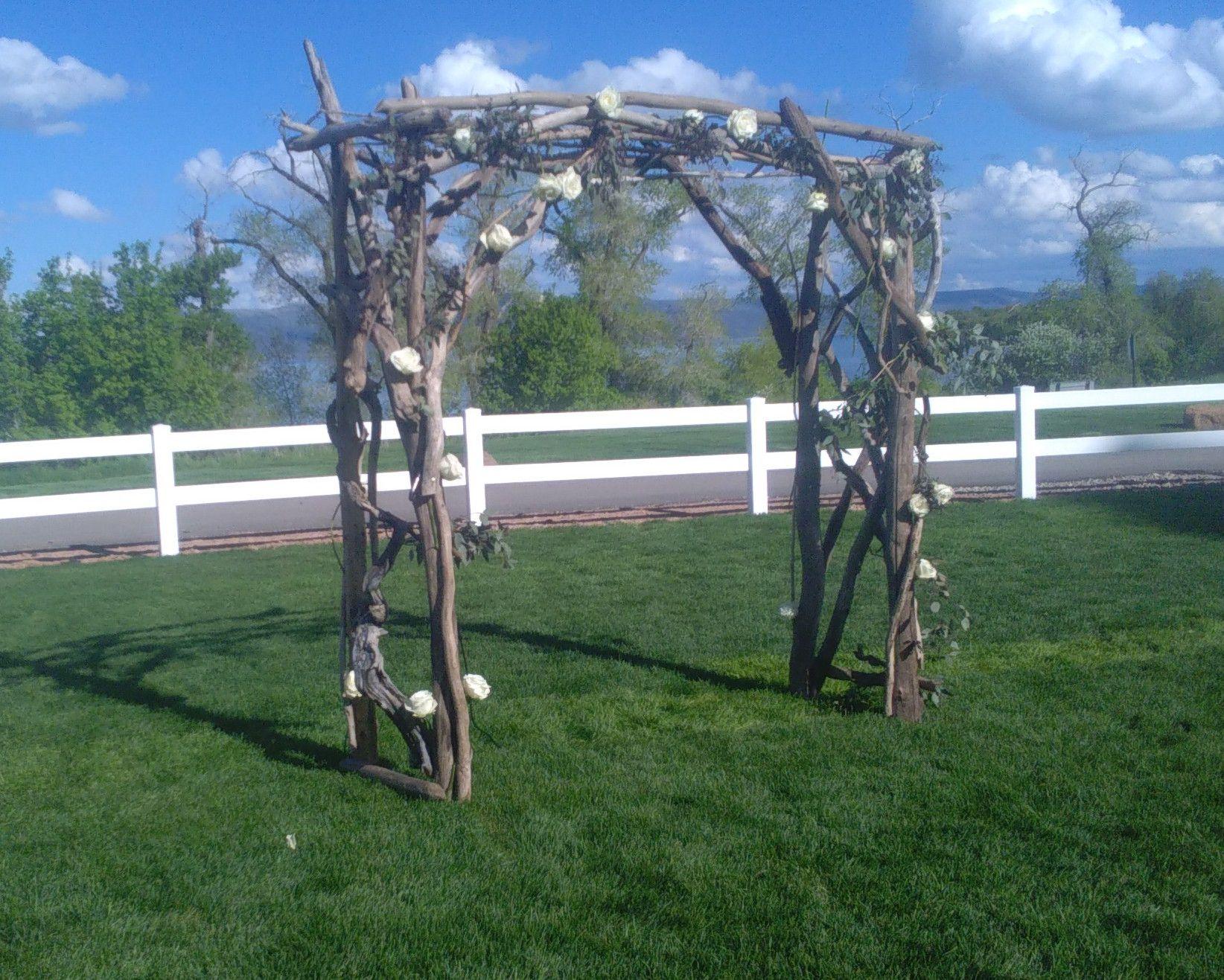 Custom handcrafted driftwood wedding arbors by north idaho