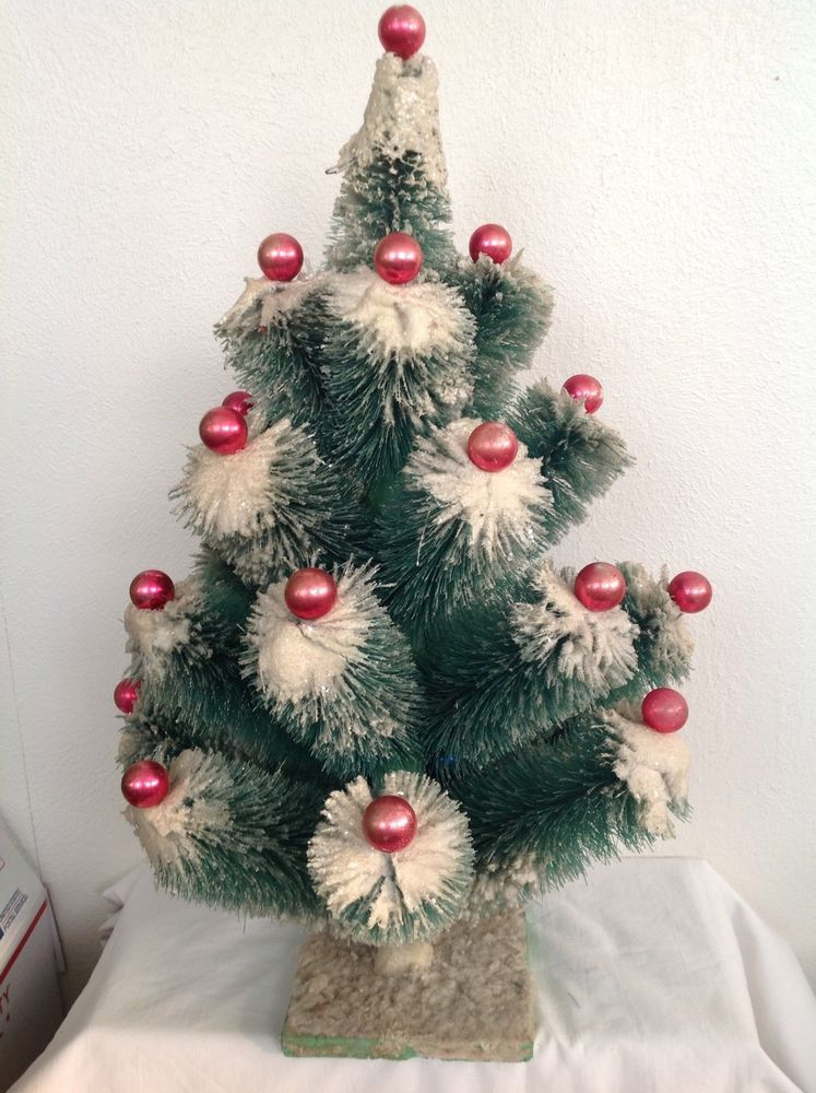 Vintage Flocked Bottle Brush Christmas Tree Pink Mercury Glass Bulbs