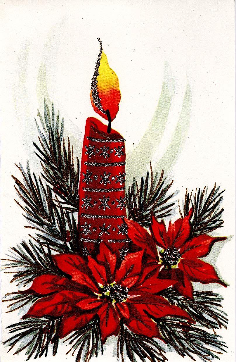 #Christmas #vintage #greeting #candle