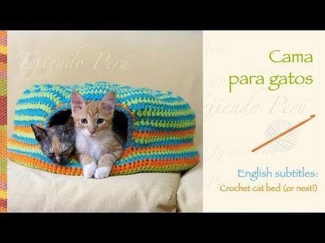 Cama para gatos tejida a crochet / Crochet cat bed or nest - http://www.knittingstory.eu/cama-para-gatos-tejida-a-crochet-crochet-cat-bed-or-nest/