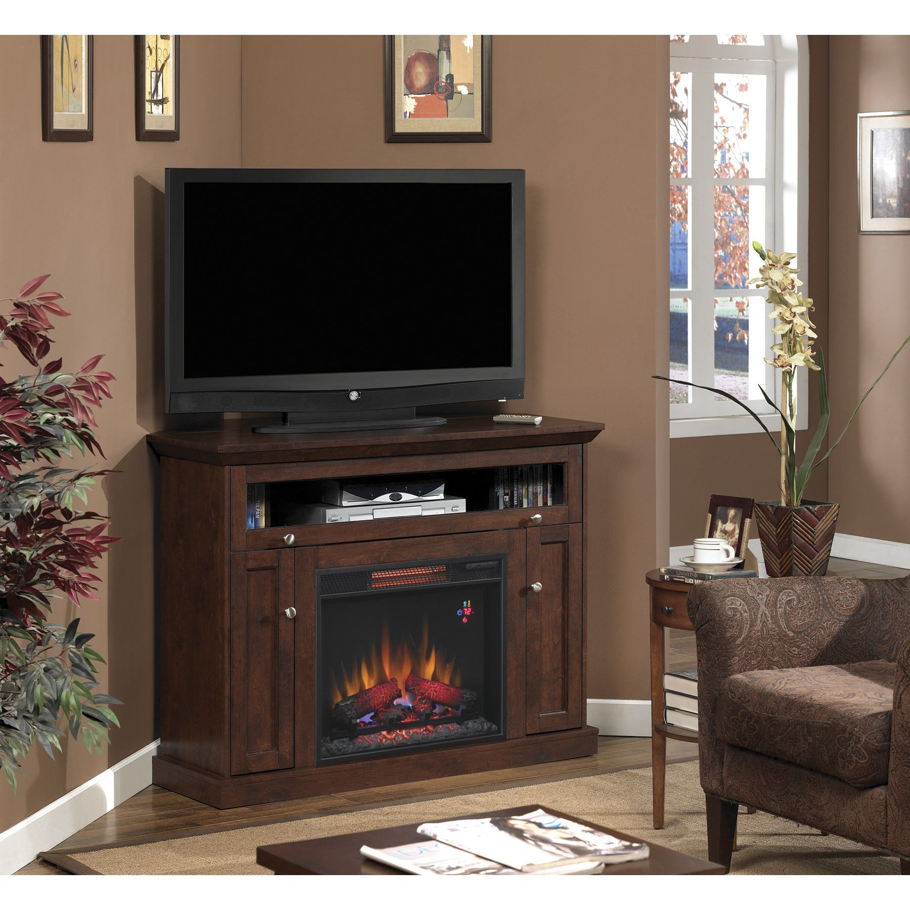 star windsor tv stand with 23 inch infrared quartz fireplace