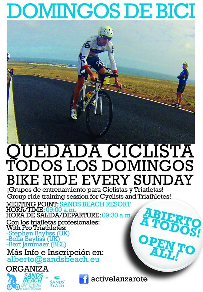 No falteis a la cita de la ruta en bici del domingo! Hay que empezar el año conservando las buenas costumbres del anterior!  New Sunday's bike route! Not to be missed!  Contaremos con la presencia de los triatletas profesionales: Bert Jammaer, Stephen Bayliss y Bella Bayliss No te lo pierdas! Nos vemos el domingo a las 09:00 en Sands Beach Active  See you at 09:00 a.m at Sands Beach Hotel in Lanzarote