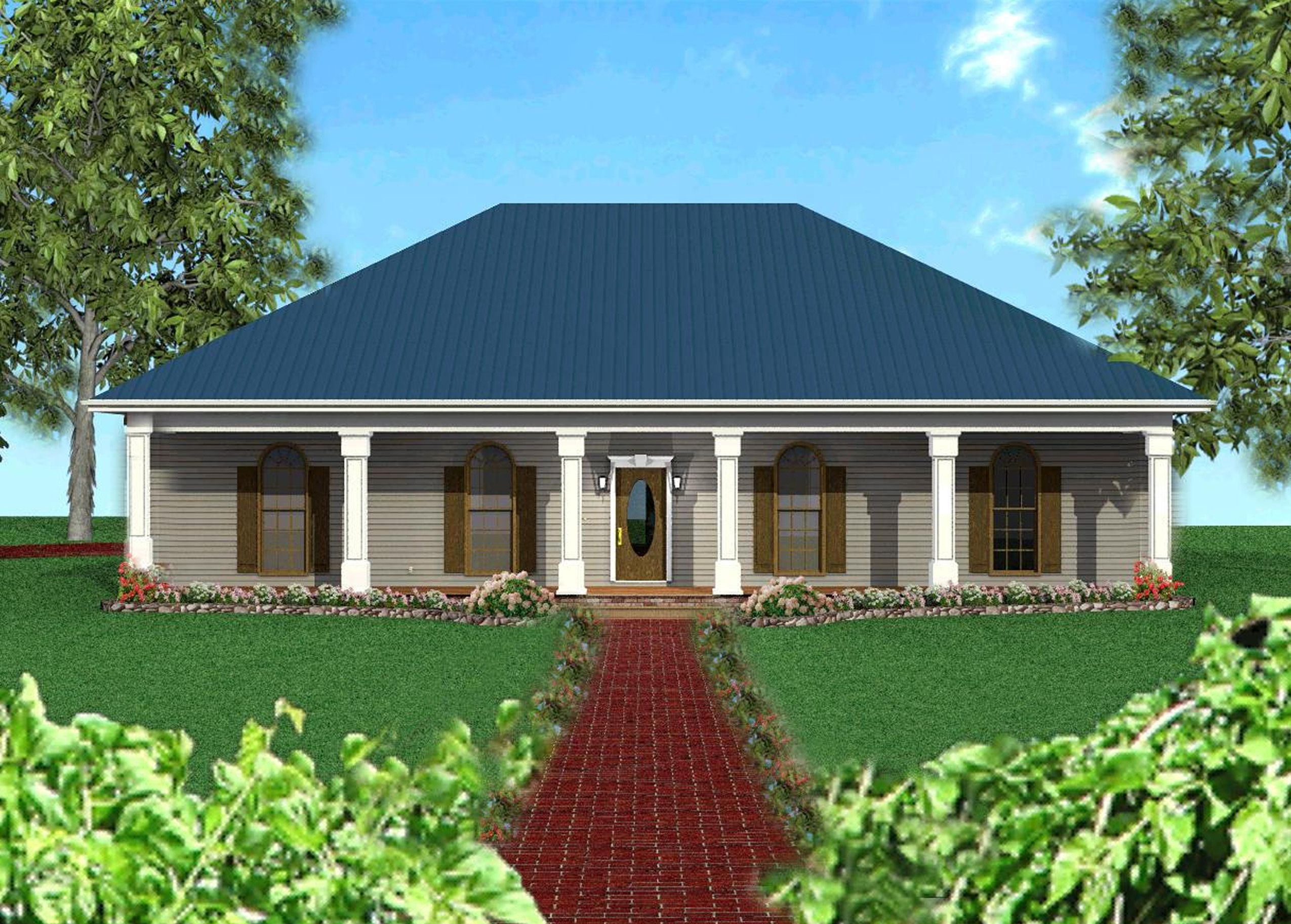 Plan 2521dh Classic Southern With A Hip Roof Country Style