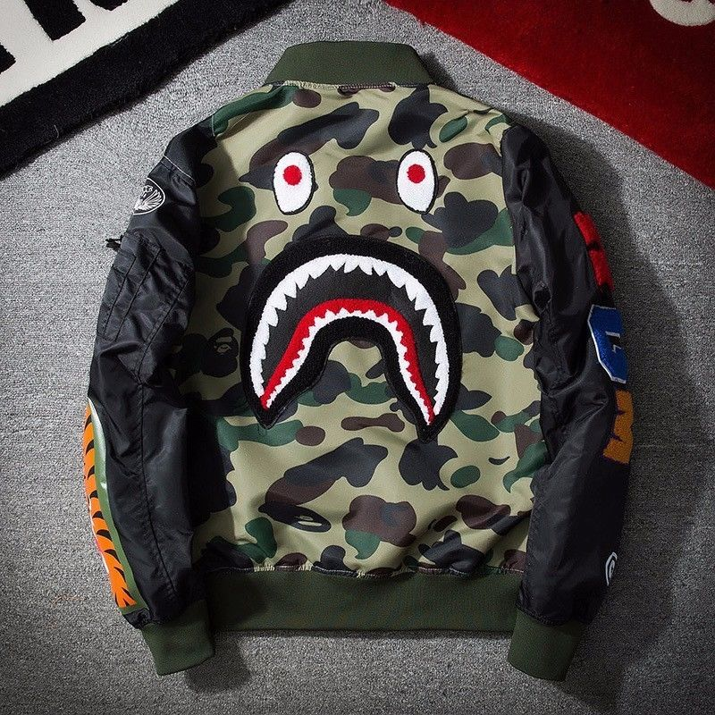 528254d8554e Japan Zip Aape Jacket Men Bape Shark Head MA1 Army Flight Bomber Coat  Camouflage