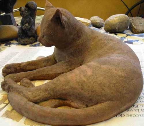 Best Cats Sculptures : By Gaetano Cherubini Titled: U0027Cat (Terracotta  Drowsing Life Size Outdoor Cats/Felines Statues)u0027.