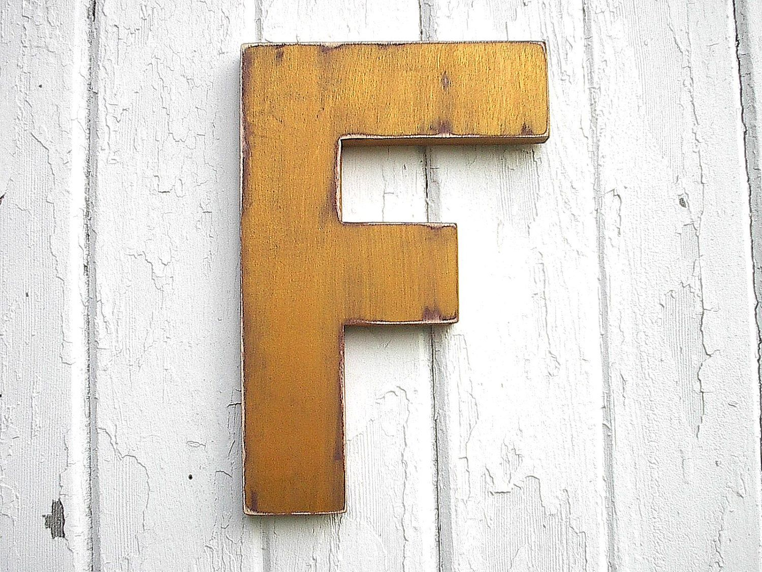 Shabby Chic Wooden Letter Quot F Quot Gold Initial Nursery Decor