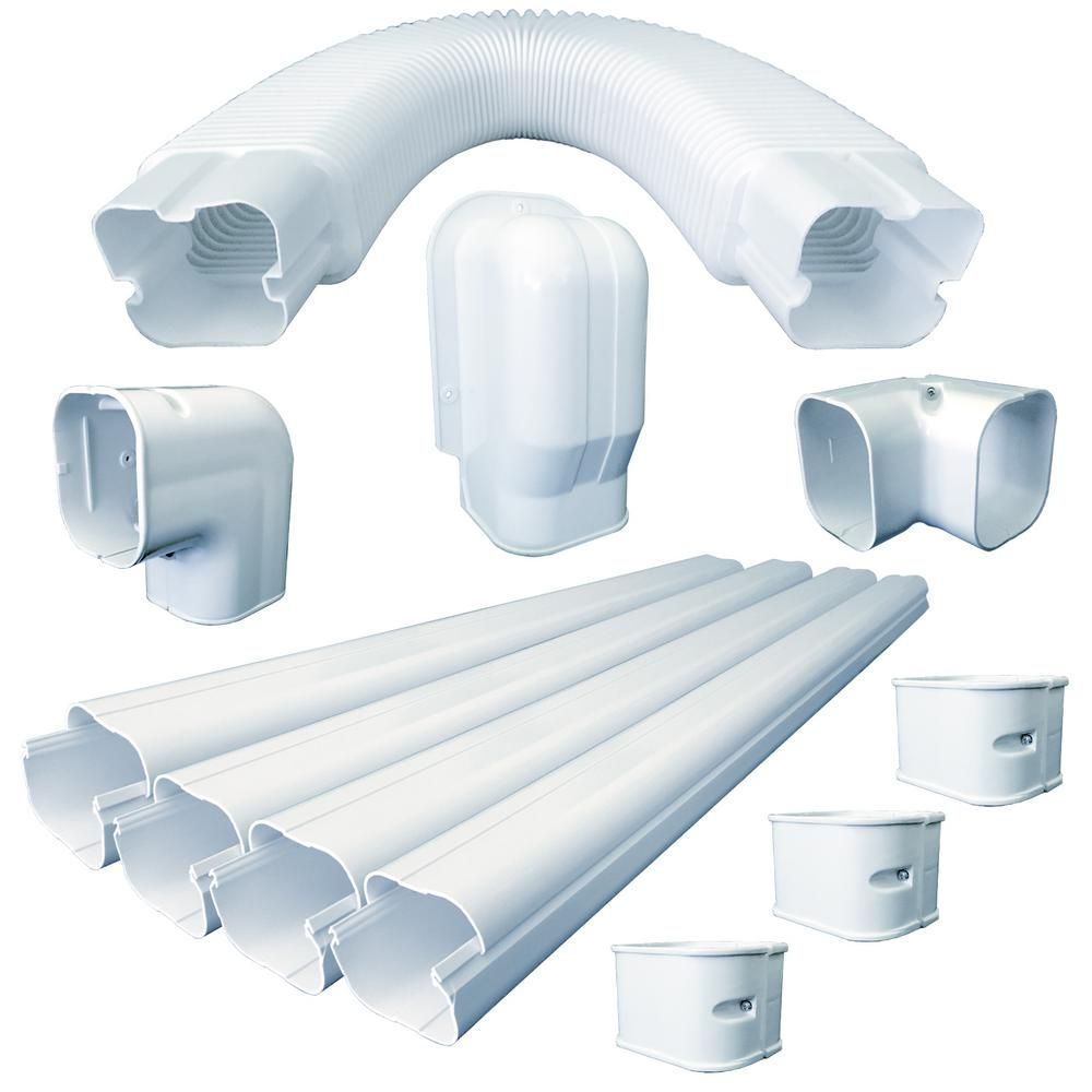 Ramsond 3 In X 2 5 In X 15 Ft Universal Line Set Cover Kit For Ductless Mini Split White Set Cover Entry Wall Cover
