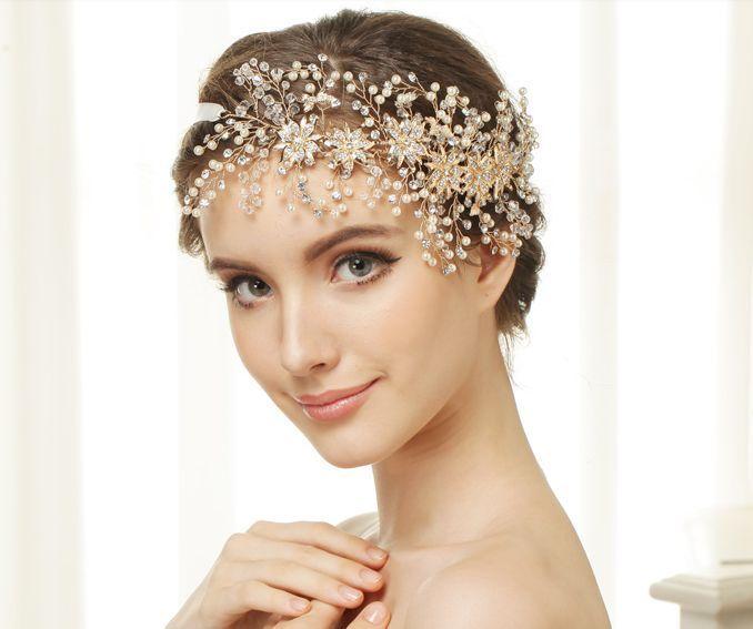 Vintage Gold Rhinestones Headband Wedding Accessory Evening Tiara Bridal Crown   eBay
