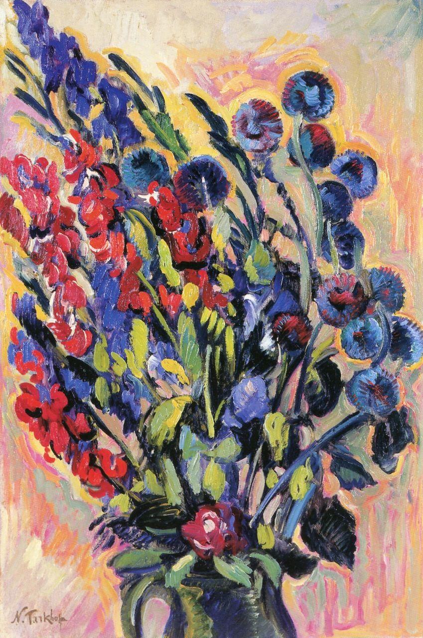 The Athenaeum - Irises in Green Jug (Nicolas Tarkhoff - ) | Russische maler, Malen