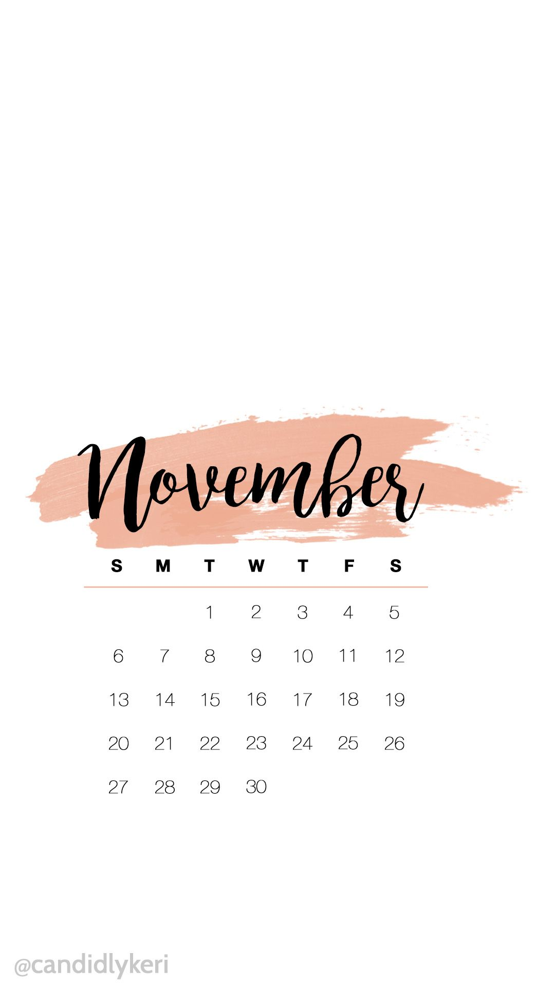 Cute pink watercolor November calendar 2016 wallpaper you