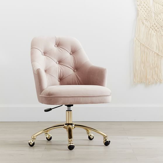 Lustre Velvet Dusty Blush Tufted Swivel Task Chair