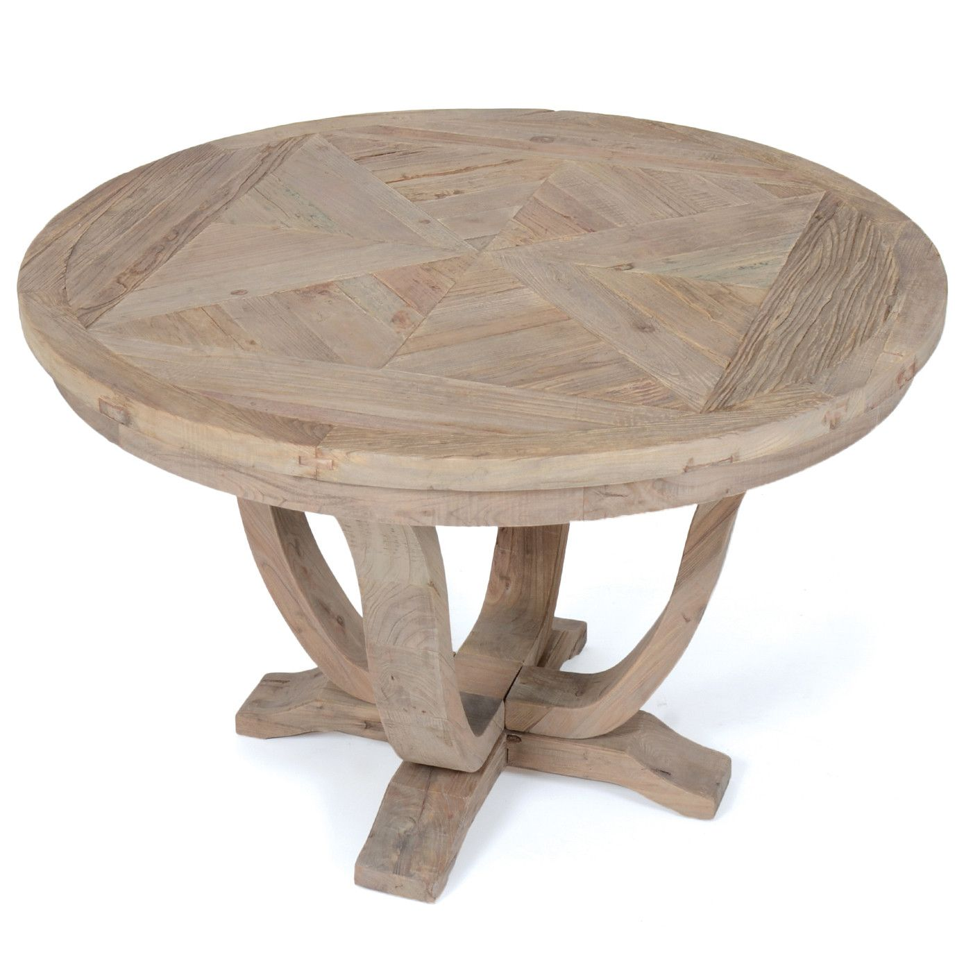 Rustic Round Parquet Wood Dining Table | Woodwaves
