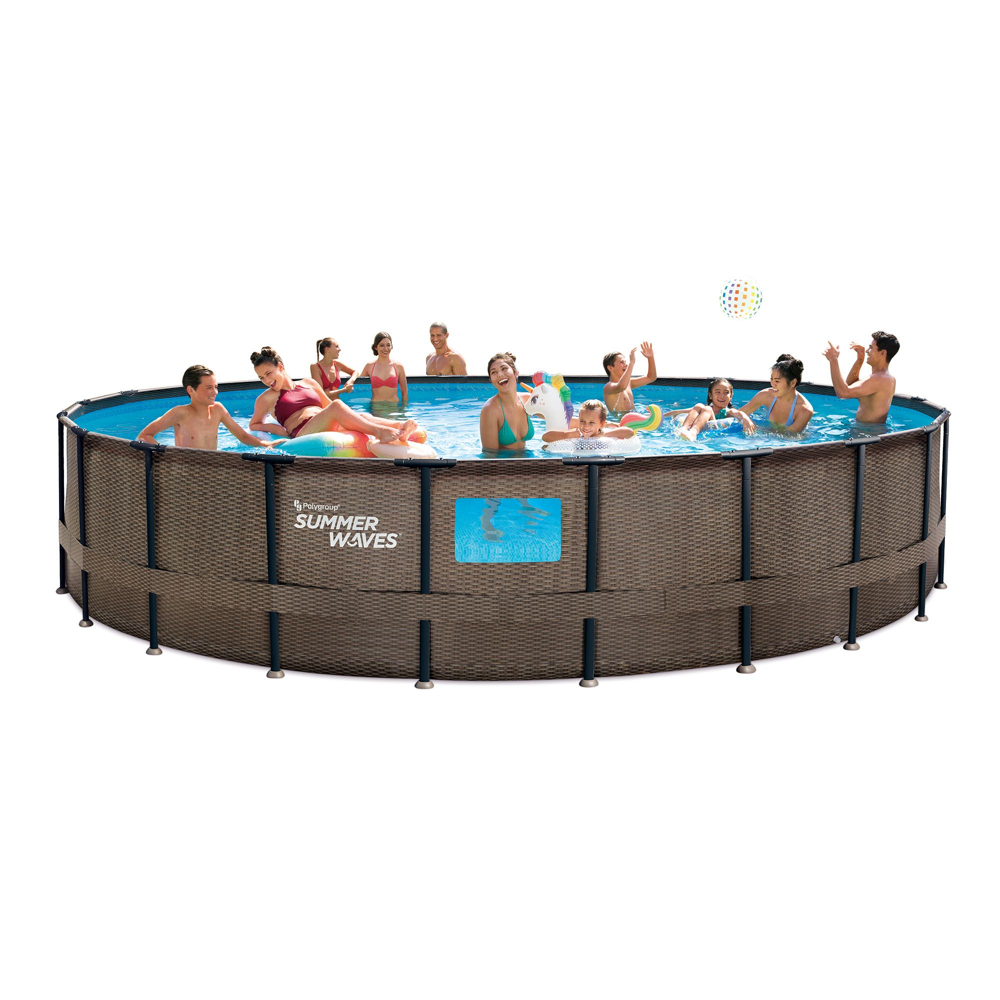 Summer Waves 22ft Dark Double Rattan Elite Frame Pool With 4 See Through Windows Walmart Com In 2020 Summer Waves Pool In Ground Pools