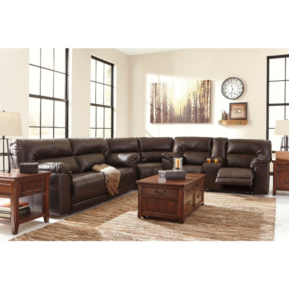 The Ashley Furniture Barrettsville DuraBlend Reclining Sectional in Chocolate at Local Furniture Outlet would be a great item to purchase in Austin Texas.  sc 1 st  Pinterest : texas sectionals - Sectionals, Sofas & Couches