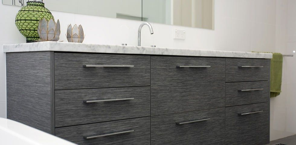 Custom Made Bathroom Vanity In Timber Grain Laminate And Stone Benchtop The Kitchen Place Melbourne Australia