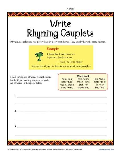 Write Rhyming Couplets | Activities, Poetry and Worksheets