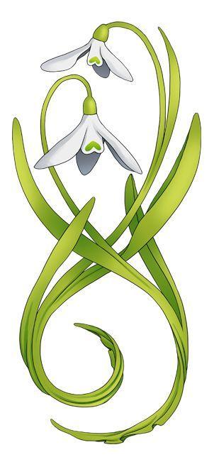 Snowdrop Motif Art Nouveau Tattoo Art Nouveau Tattoo Flower Art Nouveau Flowers