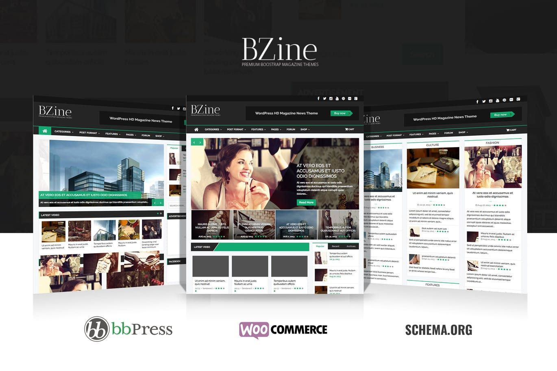 Bzine Wordpress Premium Hd Magazine Template Html Psd Template Website Wordpress Premium Magazine Website