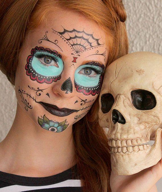sugar skull calavera temporary costume tattoos makeup halloween 2013 on wanelo a whole new way to put on the dia de los muertos makeup next year