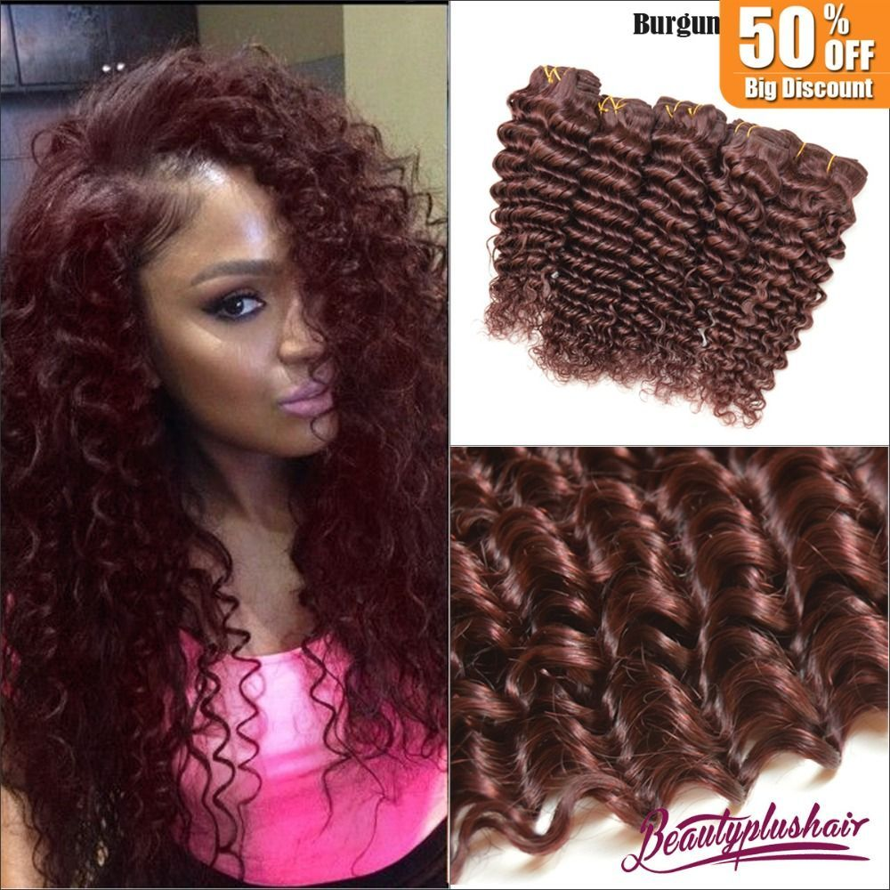 4pcs Lot 7a Brazilian Virgin Hair Deep Wave Red Human Hair