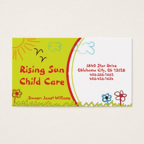 Sunshine Child Care Business Card Zazzle Com Childcare