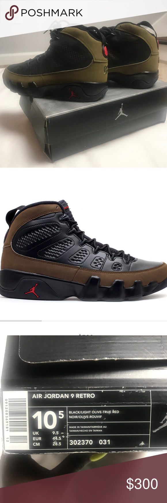 59d71fd5f6 Nike   Air Jordan 9 Retro Sz. 10.5 Black/Olive/Red Nike Air Jordan 9 ...