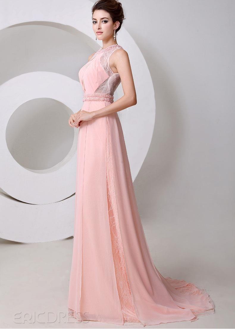 Style Graceful Jewel Neck Pearls A-Line Floor Length Evening Dress