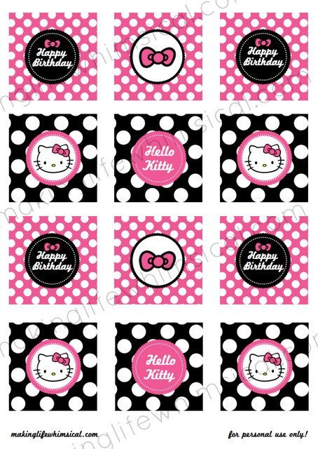 Hello Kitty Cupcake Toppers Printable Instant Download