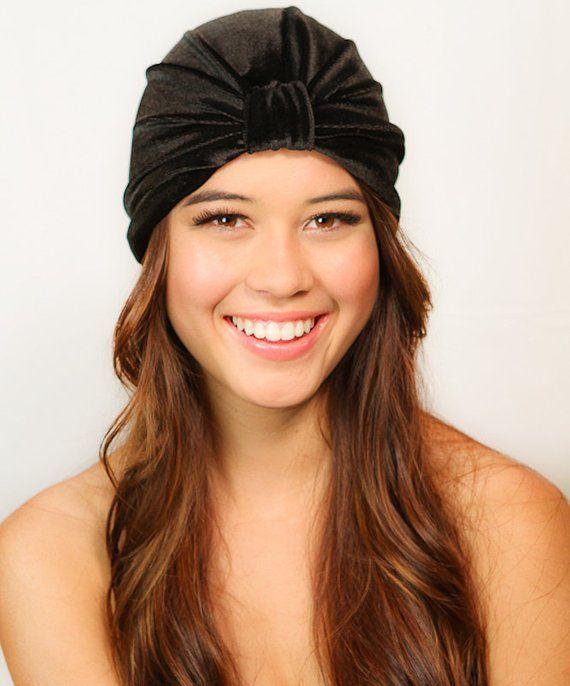 e7ab39b0456 Black Velvet Turban   Black Turban   Velvet Turban   Chemo Hat   Kristin  Perry