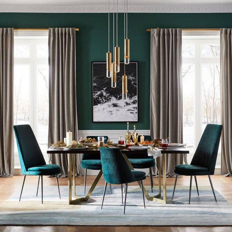 Forest Green Dining Room Designs That Bring Out Your Wild Side Bar Stools Furniture Green Dining Room Dining Room Interiors Velvet Dining Chairs