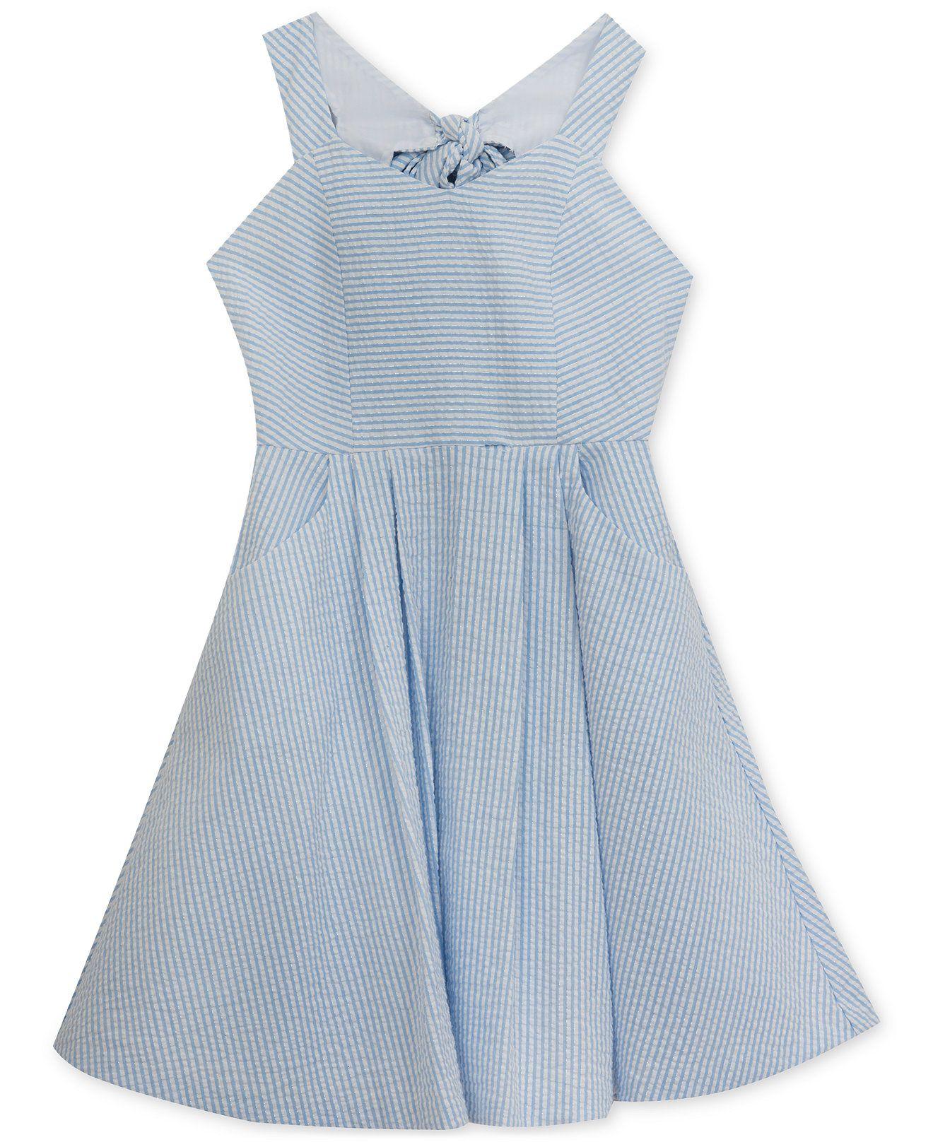 Rare Editions Bow-Back Seersucker Dress, Big Girls (7-16) - Dresses ...
