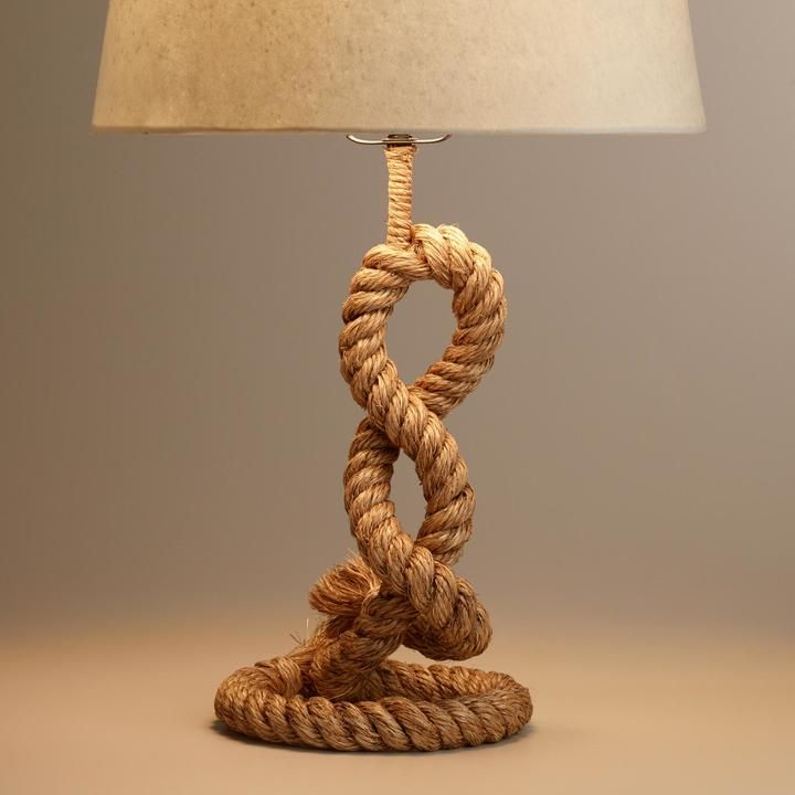 Cost Plus World Market Rope Piper Table Lamp Base Lampe Lampentisch Lampenschirm Streichen
