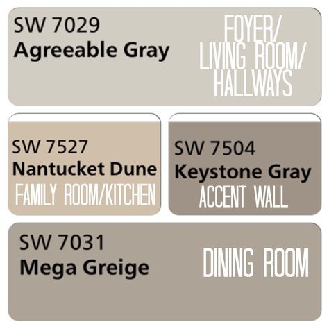 Decided On Colors For The Downstairs Sherwin Williams Agreeable Gray Nantucket Dune Keystone
