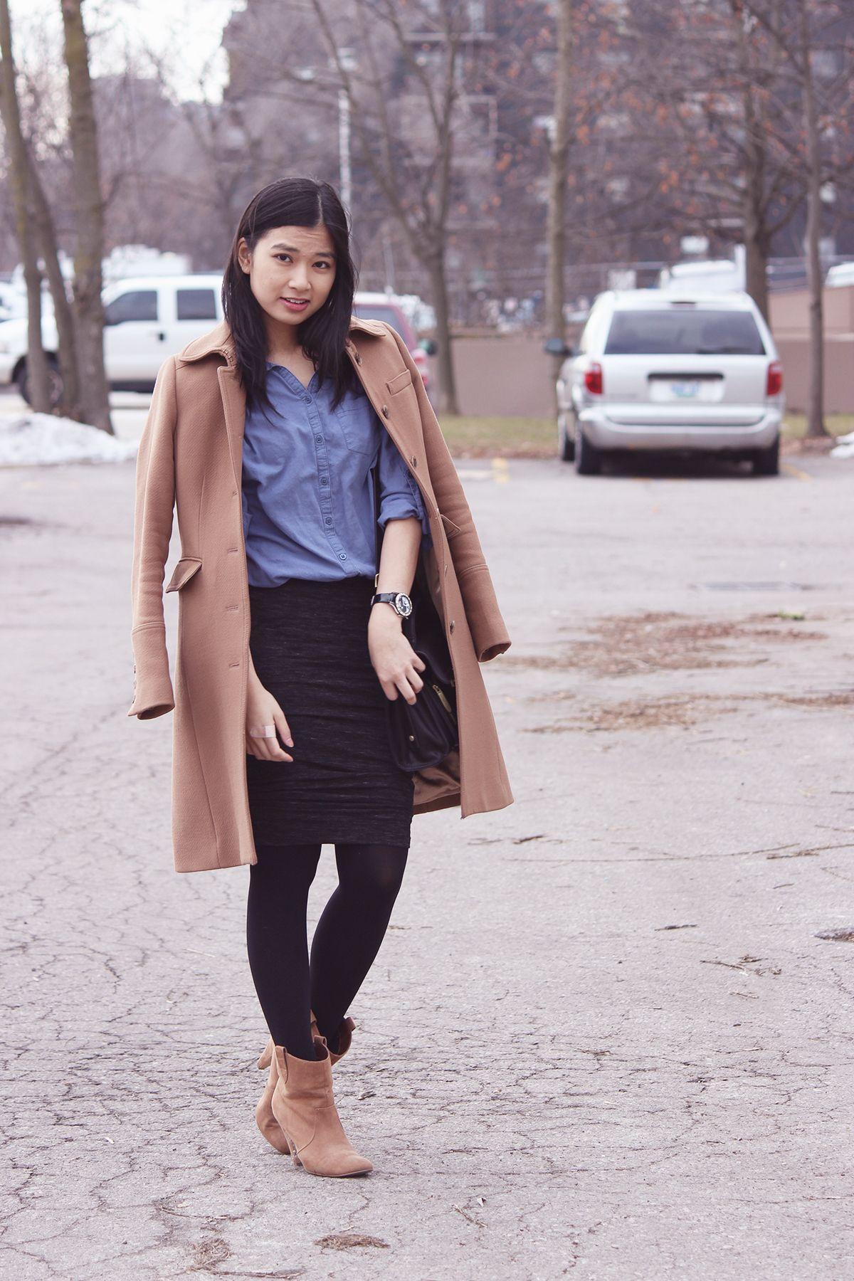 Women's Camel Coat, Blue Chambray Dress Shirt, Black Pencil Skirt ...